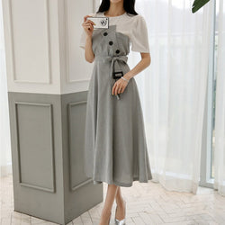 Casual Plaid Patchwork Women A-line Dress O-neck Short Sleeve Front Button Slim Waist Female Dress Elegant Vestidos femininas
