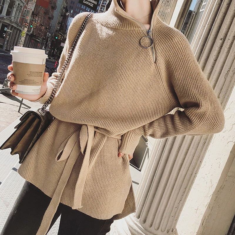 BGTEEVER Zipper Turtleneck Women Sweater Loose Lace Up Knitted Full Sleeve Pullovers Female Long Jumper 2020 Autumn Winter
