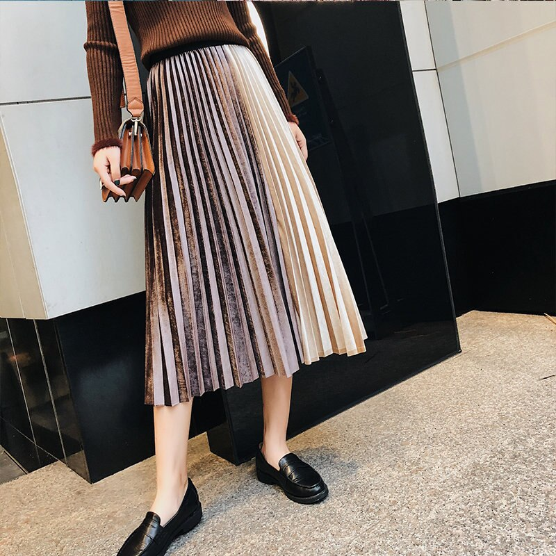 Metallic Color Loita Style A-line Women Pleated Shirt Ladies Faldas Female Patchwork Velvet Long Skirts saia longa 2018 Autumn