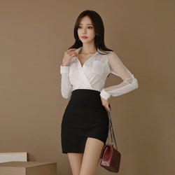 Office Ladies Women 2 Pieces Suits Mesh Patchwork White Shirt Top & Irregular Sheath Bodycon Short Skirt Work Wear Set 2019