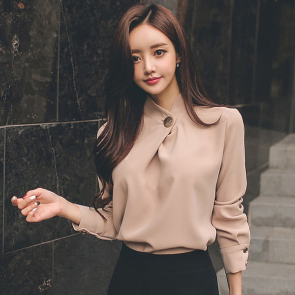 Office Ladies Solid Long Sleeve Tops and Shirts Elegant Slim Women Blouses Shirt Round Neck Soft Blusa femme 2018 High Quality