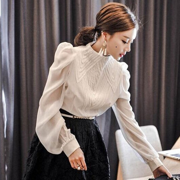 Elegant Stand Collar Blouse Shirts Pleated Lantern Tiered Sleeve Blouses Office Ladies Transparent blusa tops femininas 2018