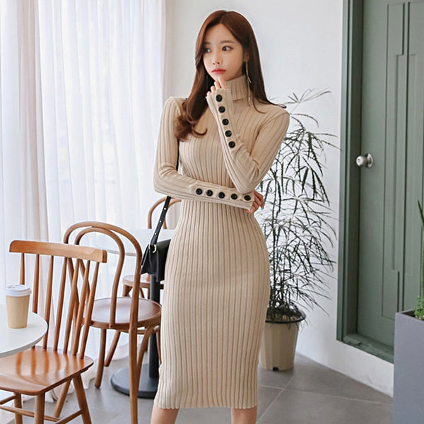 Spring Buttons Turtleneck Female Knitted Dress Women Stretch Elastic Skinny Sweater Dress Casual Long Vestidos 2019