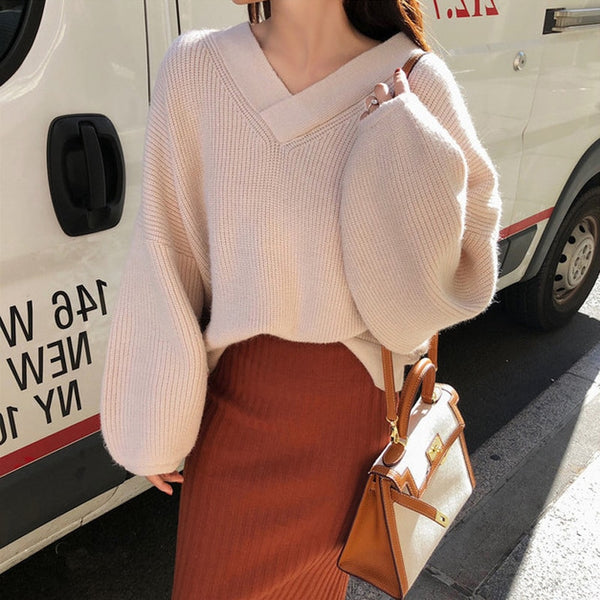 2020 New Casual 2 Pieces Set Lantern Sleeve V-neck Pullover & High Waist Side Split Skirt Women Sweater Suits Female Knitted Set
