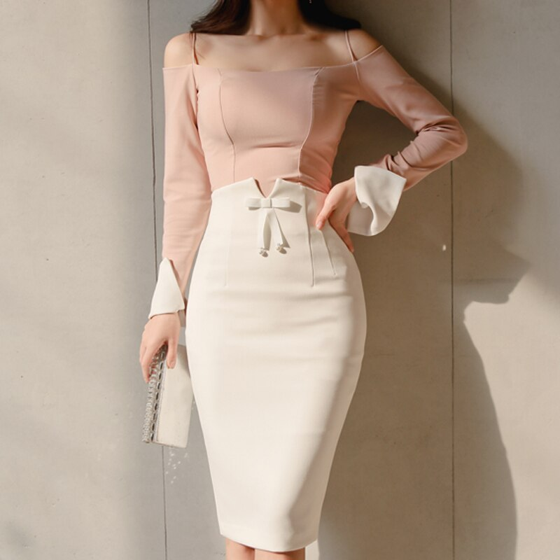 2019 Plus Size Office Ladies High Waist Bow White Women Pencil Skirt Sexy Hip Package Femme Skirt Work Business Women Skirt
