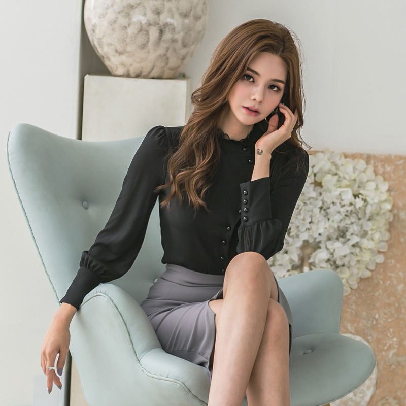 Elegant Office Ladies 2 Pieces Set Beading Blouse Shirt & Irregular Hip Package Skirt Women Work Suit 2018 Autumn