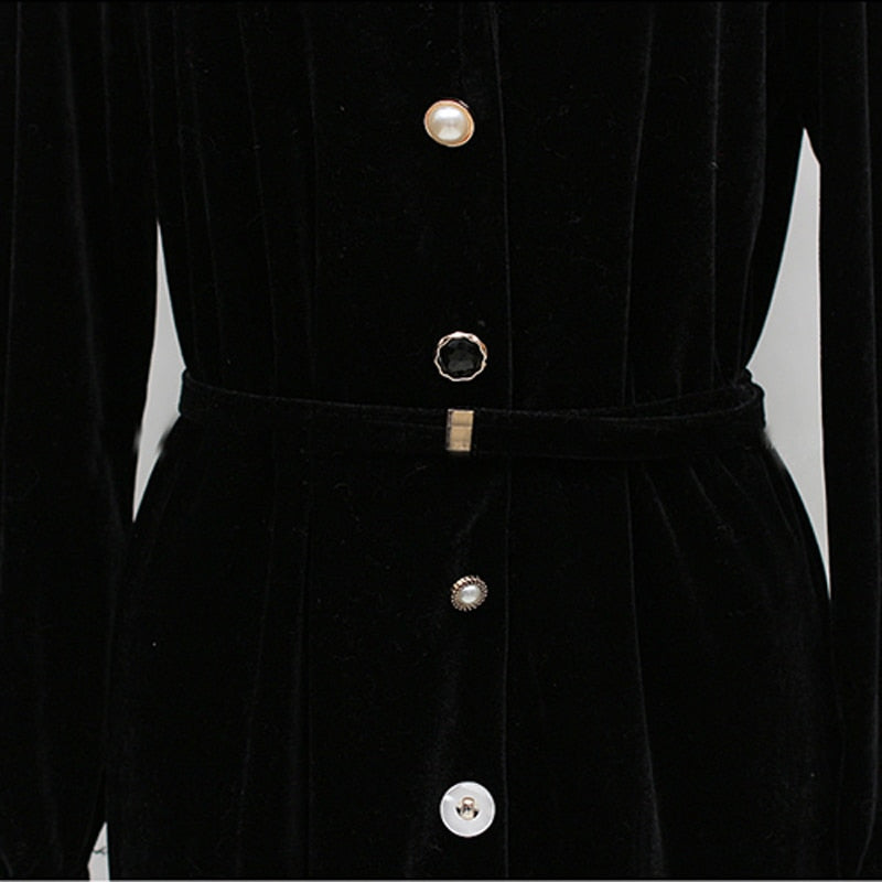 Vintage Single Breasted Velvet Women Long Dress Turn-down Collar Ruffles Female Vestidos femme Elegant Slim Waist Winter Dress