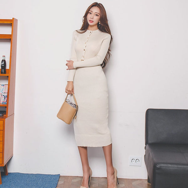 Elegant Single Breasted Women Sweater Dress O-neck Full Sleeve Sashes Stretch Vestidos Female Knee-length Knitted Dress 2019