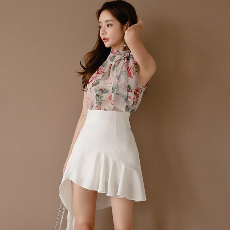 2019 Summer Casual Sets Sleeveless Stand Collar Floral Chiffon Blouse & Patchwork Irregular A-line Skirt OL Style 2 Pieces Set