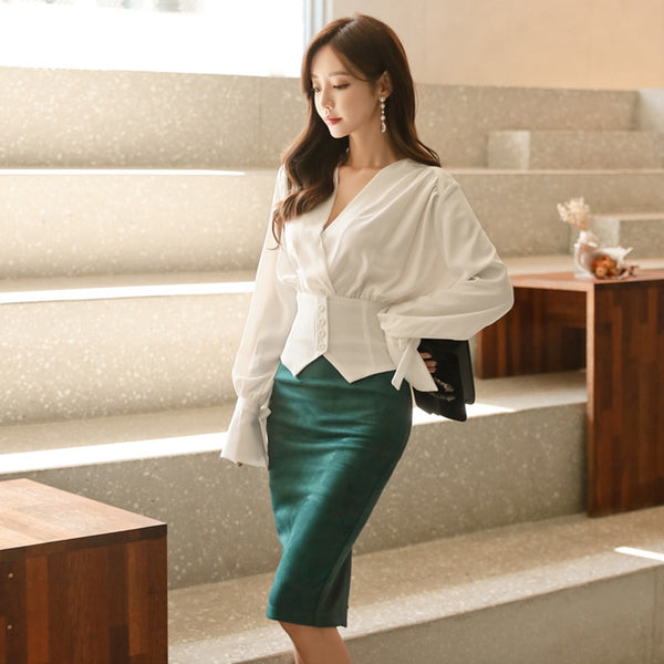 Elegant OL Style 2 Pieces Set V-neck White Blouse & High Waist Suede Hip Package Skirt 2018 Autumn Office Ladies Women Set