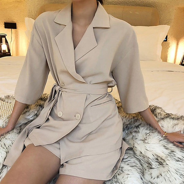 Summer Women Cotton Short Tracksuit Lace Up Jacket Blazer & Elastic Waist Shorts Loose Female Suit with shorts 2 Pieces Set