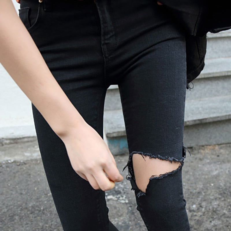 Spring Summer Irregular Stretch Ripped Holes Denim Jeans Women Skinny Tassel High Waist Pants Capris Female Pencil Jeans 2019