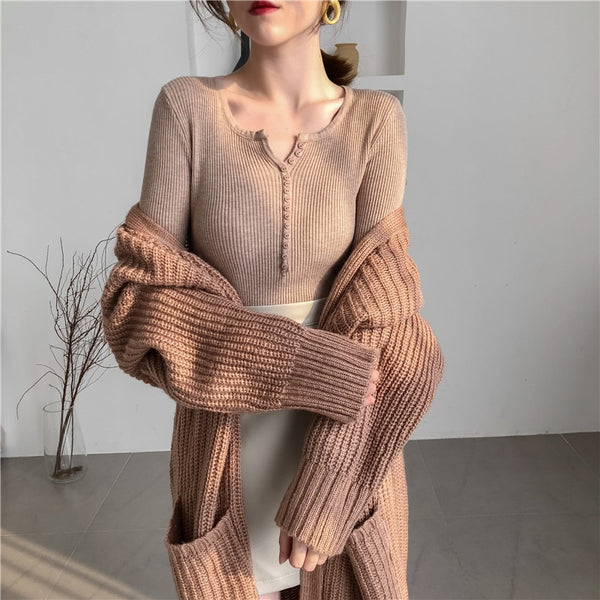 2020 New Autumn V-neck Single Breasted Women Sweater Skinny Stretched Knitted Pullovers Feminino Soft Femme Winter Jumper Good