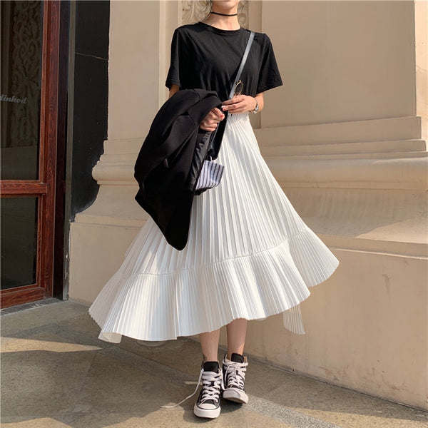 Elegant High Waist Irregular Pleated Women Skirt Solid Summer Female Mid-length Chiffon Skirts 2019 Party Vestidos femme