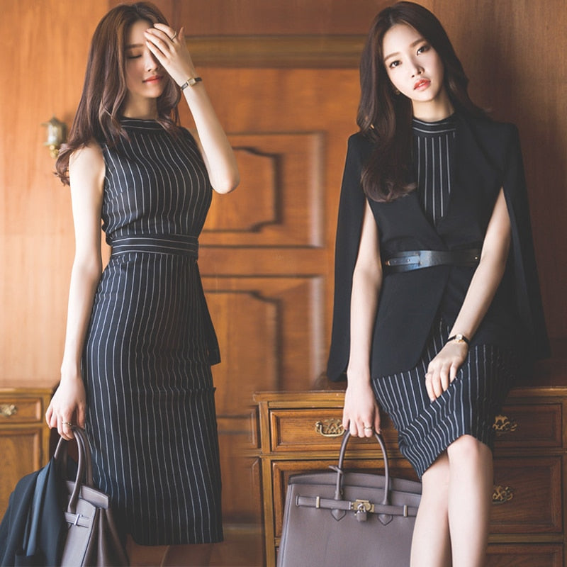 Striped Office Lady Work Dress Women Sleeveless Slim Sexy Summer Autumn Packaged Hip Elegant Fashion Vestido Mujer