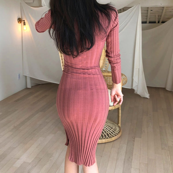Vintage Stand Collar Slim Waist Bodycon Women Sweater Dress Side Split Midi Female Knitted Pullover Dress Autumn Winter