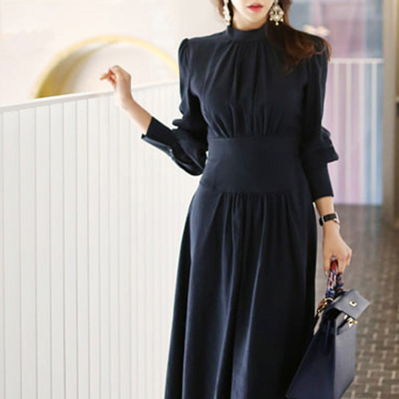 Office Ladies Stand Collar Lantern Sleeve Women Dress Elegant Slim Waist A-line Ruched Female Long Dress Party Vestidos femme
