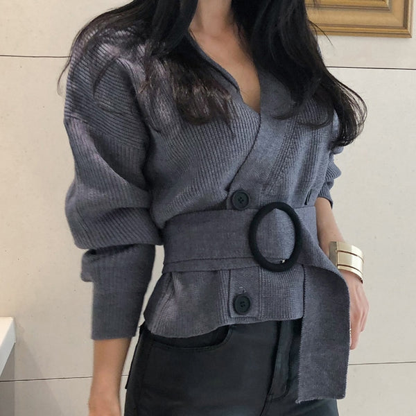 2020 Autumn V-neck Full Sleeve Short Knitted Open Stitch Double Breasted Women Sweater Cardigans Elegant Female Sashes Jumpers