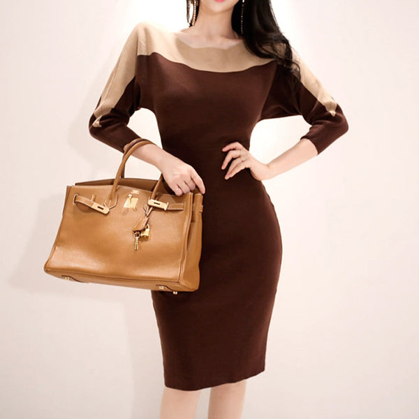 Autumn Casual Hit Color Women Sweater Dress Female Skinny Elastic Knitted Dress 2018 O-neck Mid-length Winter Vestidos femme