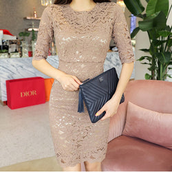 Elegant Floral Lace O-neck Women Short Dress Elegant Half-sleeve Hip Package Female Dress 2019 Fashion Women Mini Vestidos