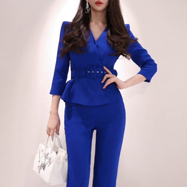 Elegant Belted Waist Business Jumpsuits Women 2019 OL V-Neck Wide Leg Long Playsuits Casual Work Wear Rompers