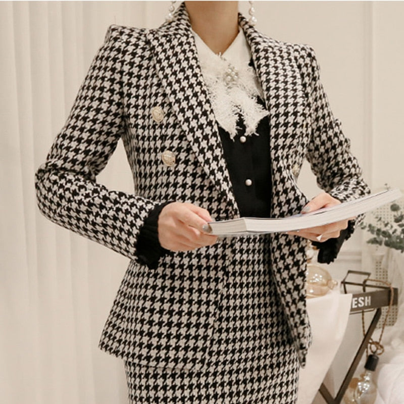 Elegant Houndstooth Women Skirt Suit One Button Slim Blazer & Mid-length Skirt 2018 Autumn Casual Plaid 2 Pieces Set feminino