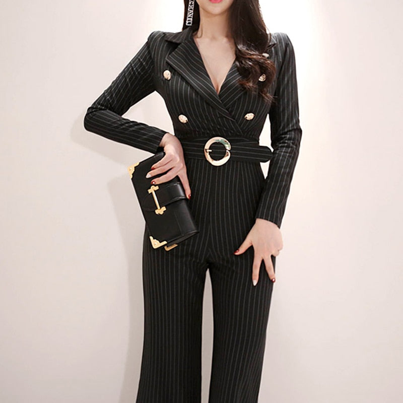 Long Sleeve Sashes Striped Jumpsuit Black V-neck Women Work Business Ankle-length Pant Jumpsuits Slim Waist Long Playsuit 2019