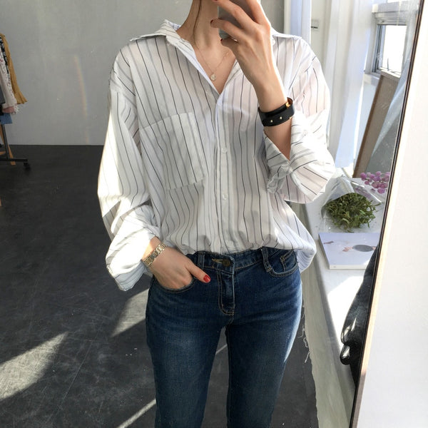 Casual Loose Women Shirts 2019 Women Blouse Long Sleeve Pockets Striped White Shirt for Women Tops blusas mujer de moda 2019