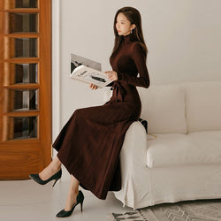 Winter A-line Turtleneck Women Sweater Dress 2018 Lace Up Slim Waist Solid Knitted Pullover Dress Casual Female Long Vestidos