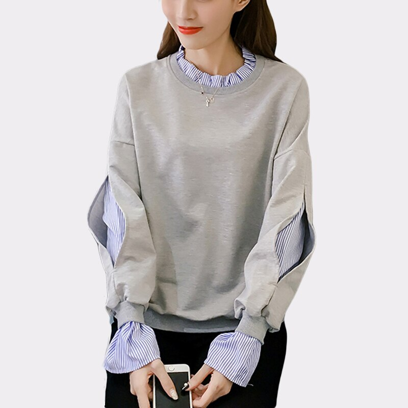 BGTEEVER 2019 Korean Shirts Patchwork Women Sweatshirts O-neck White Loose Hoodies Female Casual Warm Pullovers femme Autumn