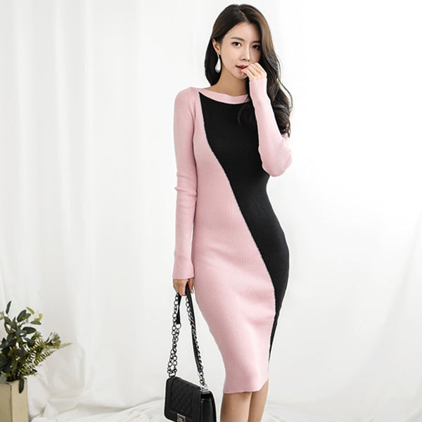 Autumn Patchwork Women Sweater Dress O-neck Full Sleeve Hit Color Skinny Vestidos Female Knee-length Knitted Dress 2018