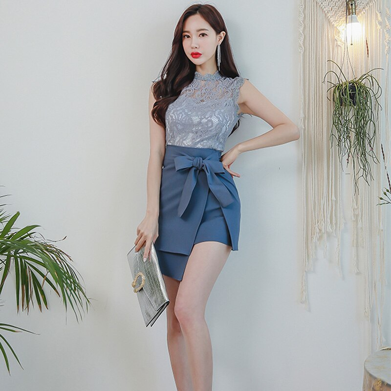 2 Piece Set Summer Women Round-neck Sleeveless Lace Tops & Bow Belt Pack Hip Irregular Skirt Fashion Work Business Suits