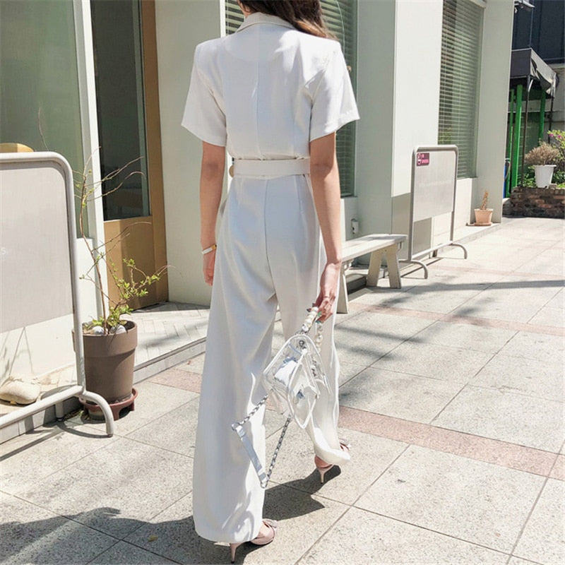 Office Ladies Notched Collar Short Sleeve Sashes Women Jumpsuit Elegant Work Business Wide Leg Pant White Jumpsuits Female 2019