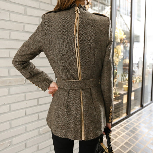 Elegant Single Breasted Stand Collar Women Short Blends Coat Winter Back Zipper Sashes Slim Waist Female Jacket Coat Outwear