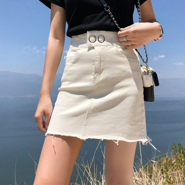 Casual Women Tassel Jean Skirt Streetwear Fringed Hem Female Pencil Skirt 2019 High Waist Denim Summer Bodycon Mini Skirt femme