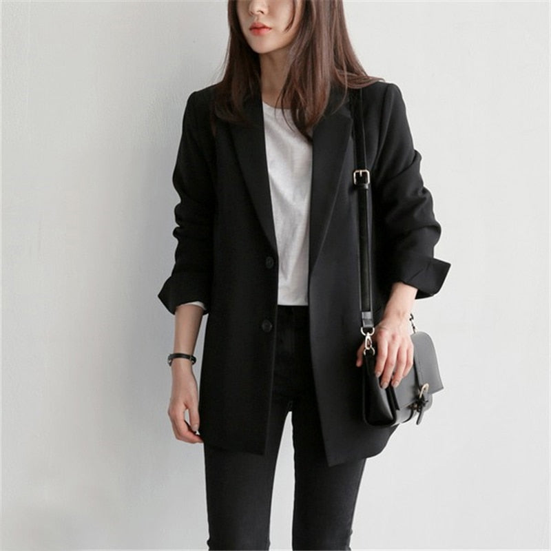 Single Breasted Black Casual Blazer Notched Collar Women Jacket Full Sleeve Fashion Outerwear Female Blaser Tops 2018
