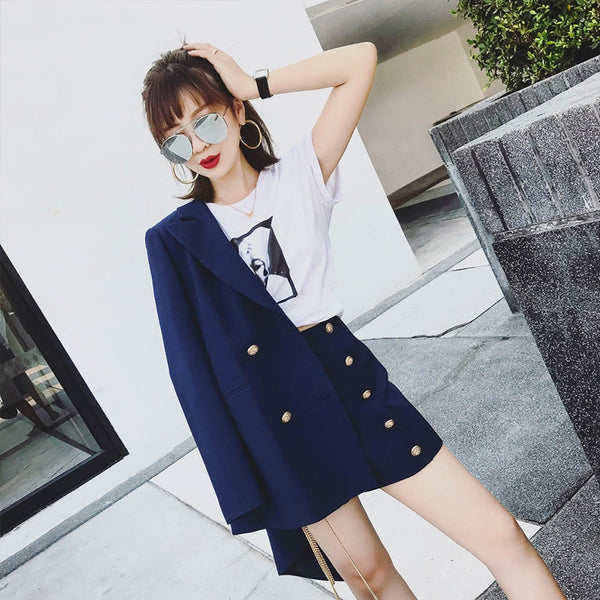 2018 Office Lady Vintage Short Suit set Elegant 2 Piece Set Solid Women Tracksuit Jacket Blazer + Fashion Hot Mini Shorts