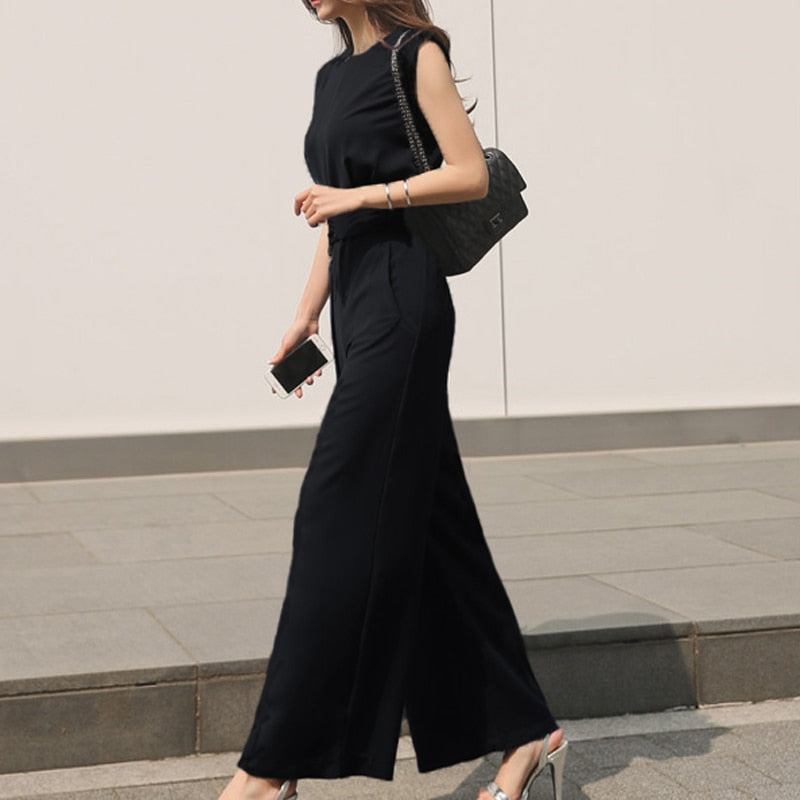 Summer Round-neck Sleeveless Wide Leg Jumpsuit Women Slim Waist Bandage Overalls 2018 Rompers