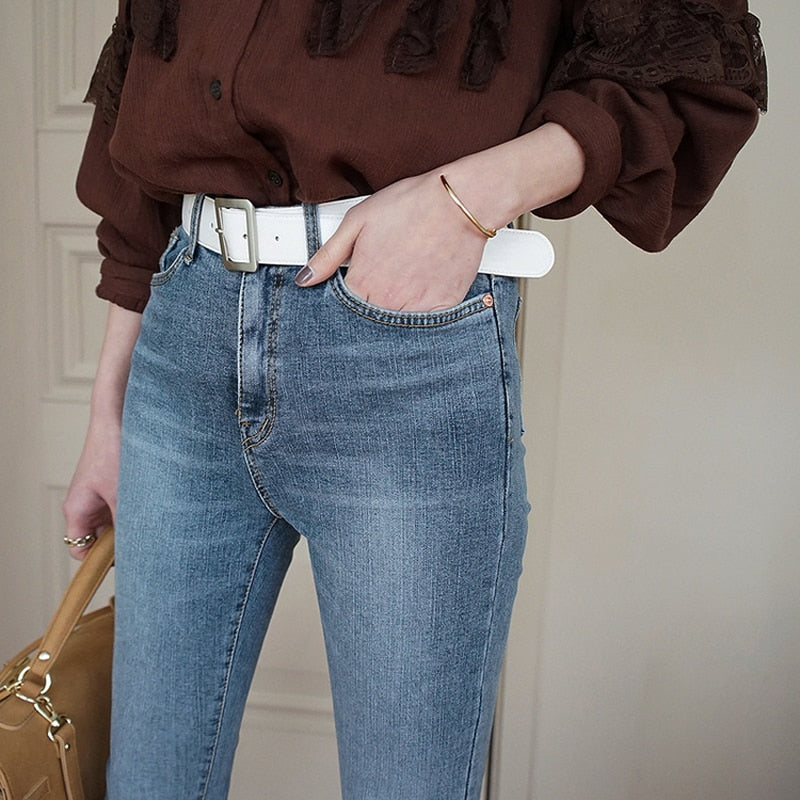 Vintage Fit High Waist Denim Jeans Women Elastic Femme Washed Blue Denim Skinny Jeans Classic Pencil Pants 2019