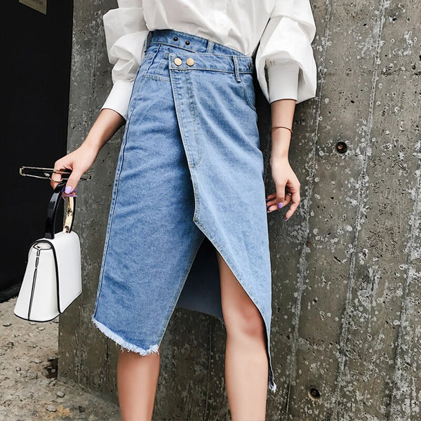 Casual High Waist Irregular Split Women Jean Skirt Tassel Streetwear Stretch Skinny Female Pencil Skirt 2019 Blue Pockets Denim