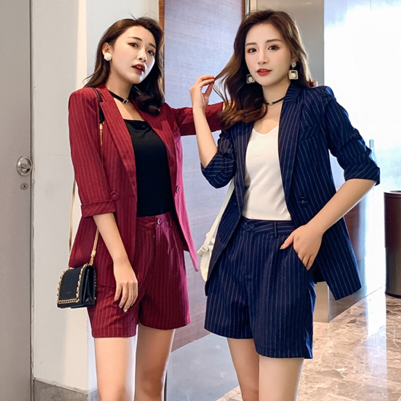 Office Ladies Women Striped Pant Suits Half Sleeve Jacket Blazer & High Waist Hot Shorts Elegant Female 2 Pieces Set Short Suits