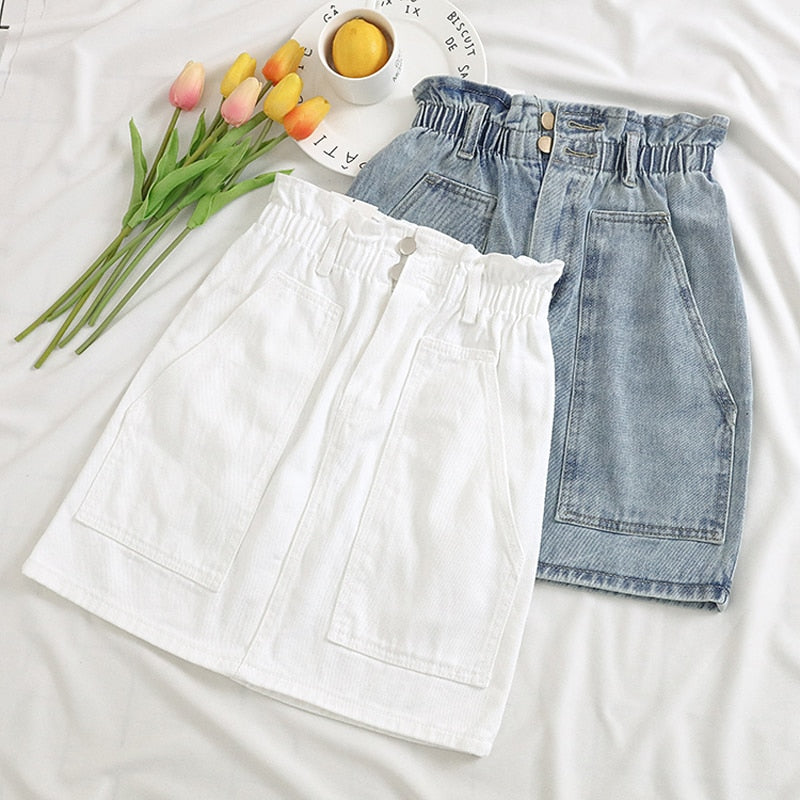 Elastic Waist Summer Women Denim Skirt Pockets Sexy White High waist jeans Skirts A-line Casual Ruffles Female mini saia mujer