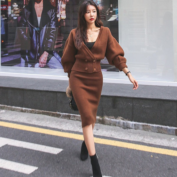BGTEEVER Autumn Winter V-neck Lantern Sleeve Cardigan & Hip Package Skirts Knitted Women 2 Pieces Set Female Sweater Suits 2020