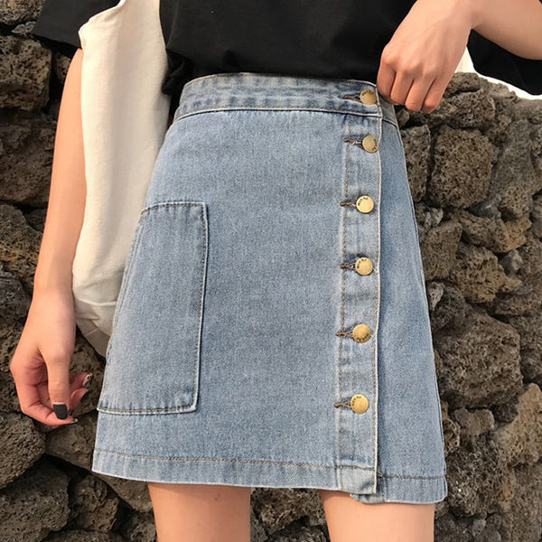 Casual High Waist Pencil Denim Skirts Women's Skirt High Street Single-breasted Female Jeans Skirt faldas mujer moda 2019