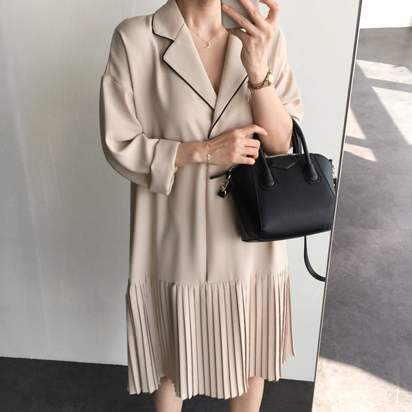 BGTEEVER Elegant Notched Collar Pleated Women Dresses Vintage Loose Female Short Dress Full Sleeve Spring Summer Vestidos 2020