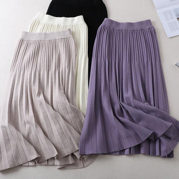 BGTEEVER High Waist A-line Maxi Women Skirts Elastic Long Knitted Midi Skirt Autumn Winter Thick Warm Office Lady Sweater Skirt