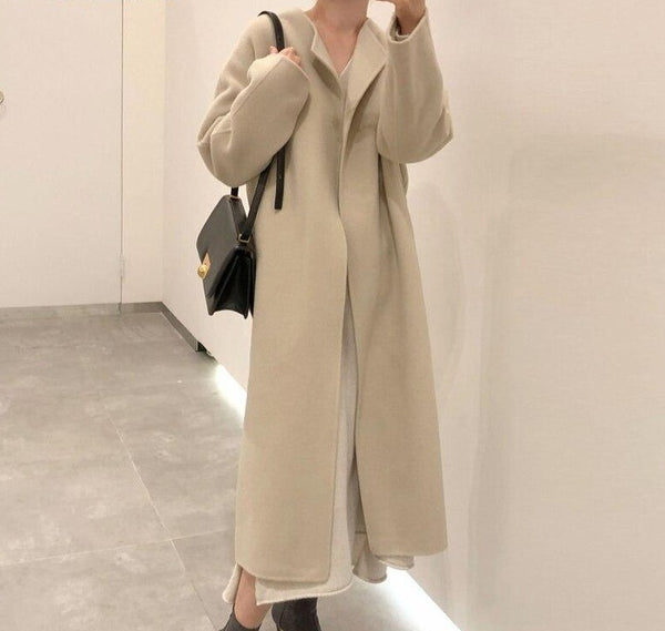 BGTEEVER Chic Elegant Long Blend Coat for Women 2020 Winter Thick Full Sleeve Loose Female Woolen Coats Ladies Oversized Outwear