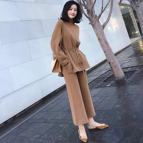 2020 Autumn Knitted 2 Pieces Set Turtleneck Lace Up Pullovers & Loose Pants Winter Women Sweater Set Casual Sweater Tracksuit