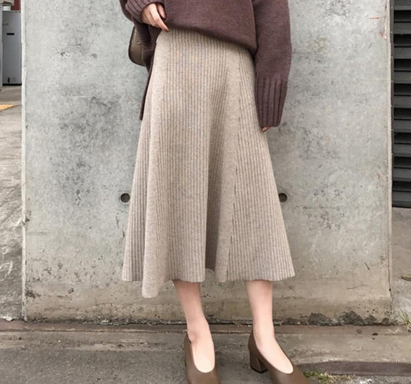 BGTEEVER Elegant Solid High Waist Female Knitted Skirts Autumn Winter Casual A-line Loose Sweater Midi Skirts for Women 2020 New
