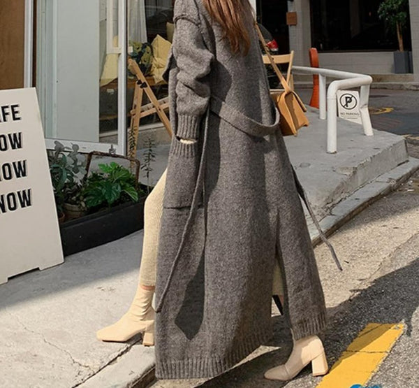 BGTEEVER Thicken Warm Loose Winter Female Open Stitch Sweater Casual Oversized Lace-up Pockets Women Long Knitted Cardigans 2020
